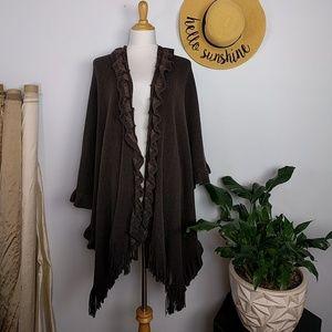 Sweaters - Long Poncho Shawl Wrap Fringe Ruffles One Size